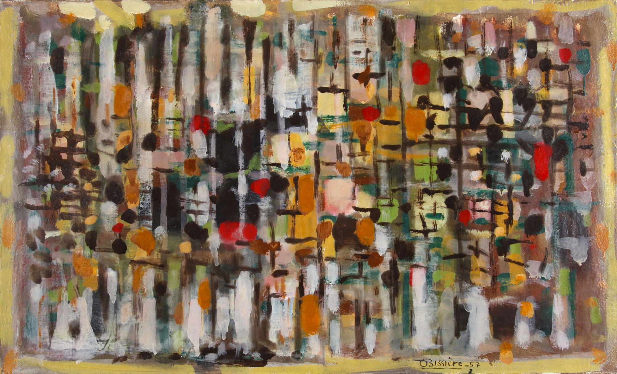 Composition 368, 1957 - Huile sur toile, 46 x 76 cm - Musée de la Cour d'or, Metz - Bissière cat. raisonné n° 2382