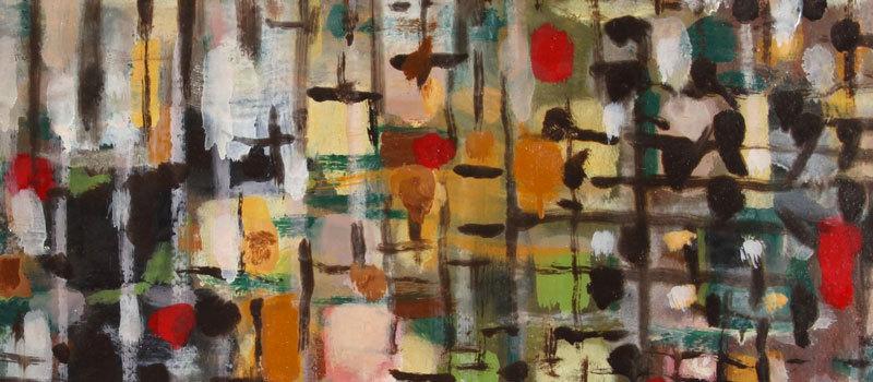Composition 368, 1957 (détail) – Huile sur toile, 46 x 76 cm – Musée de la Cour d'or, Metz – Bissière cat. raisonné n° 2382