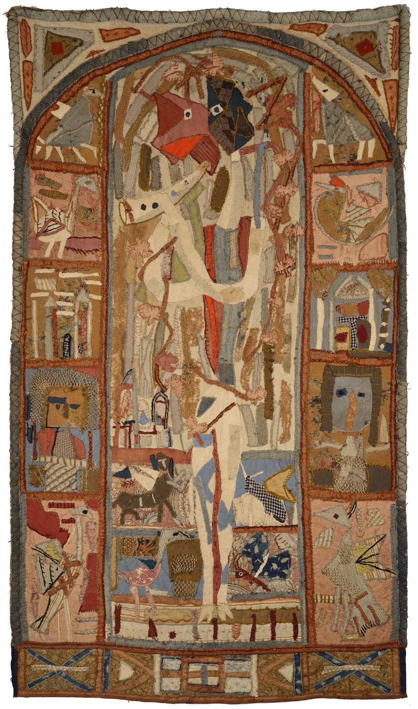 Le Chevrier, 1945 – Tapisserie d'étoffes brodées, 220 x 130 cm - Coll. Part. – Bissière cat. raisonné n° 1302