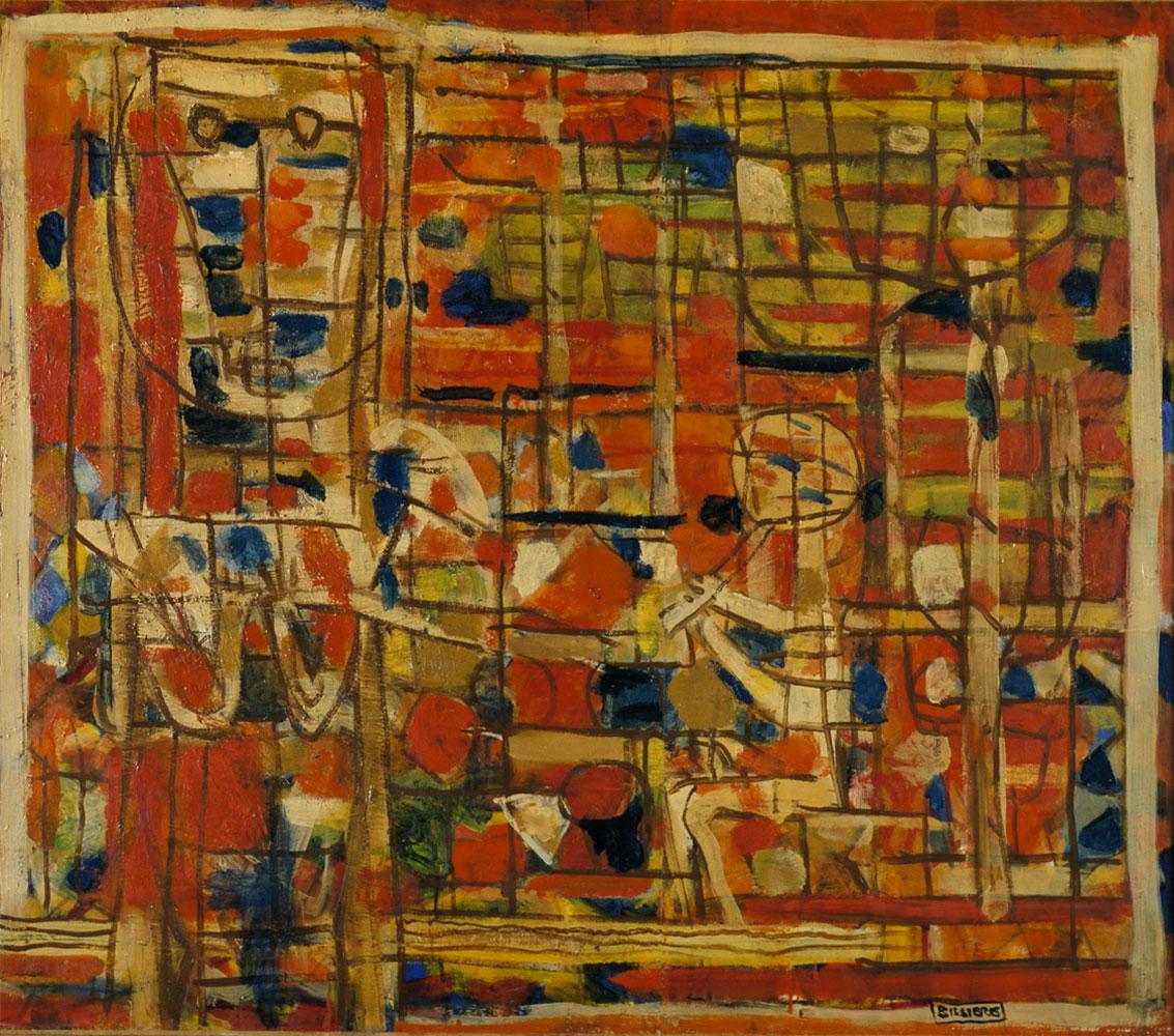 Hommage à Théocrite, 1946 - Huile sur panneau, 100 x 115 cm - Musée d'Unterlinden, Colmar - Bissière cat. raisonné n° 1389