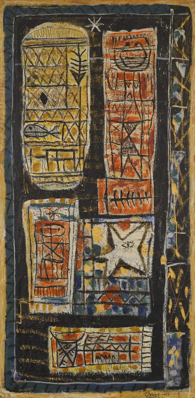 Grande Composition, 1947 - Peinture à l'œuf sur papier marouflé sur toile, 162 x 81 cm - Coll. part. - Bissière cat. raisonné n° 1427