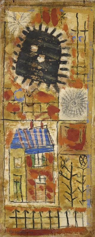Soleil Noir, 1949 - Peinture à l'œuf sur panneau, 58 x 24 cm - Coll. part. - Bissière cat. raisonné n° 1609