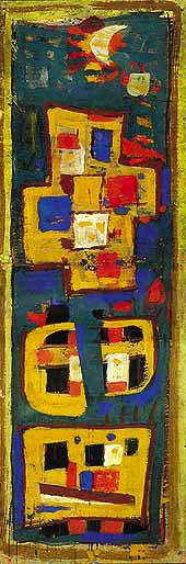 Jaune et vert, 1951 - Peinture à l'œuf sur pap. marouflé sur isorel, 123 x 41,5 cm - Coll. Fondation Jean et Suzanne Planque, en dépôt au musée Granet d'Aix-en-Provence - Bissière cat. raisonné n° 1725