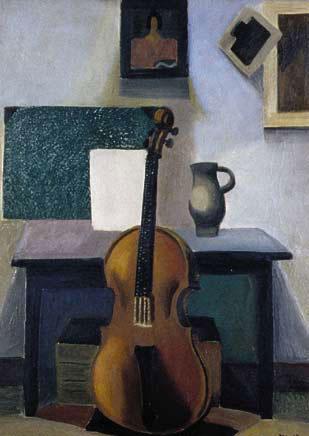 Nature morte au violoncelle, 1921 – Huile sur toile, 100 x 73 cm - MNAM Centre Georges Pompidou, Paris – Bissière cat. raisonné n° 175