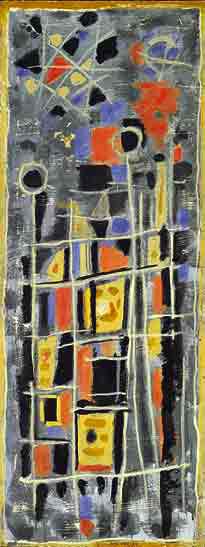 Rouge et gris, 1952 - Peinture à l'œuf sur toile - 131 x 50 cm - Musée de Grenoble - Bissière cat. raisonné n° 1801