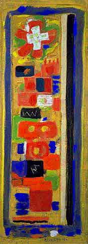 Croix du Sud, 1952 - Peinture à l'œuf sur papier marouflé sur toile, 130,4 x 49,7 cm - Gemeentemusem, La Haye - Bissière cat. raisonné n° 1814