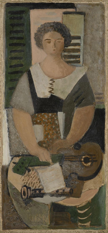 Femme à la clarinette, v. 1922 - Huile sur panneau, 25 x 14 cm - Coll. Part. - Bissière cat. raisonné n° 190