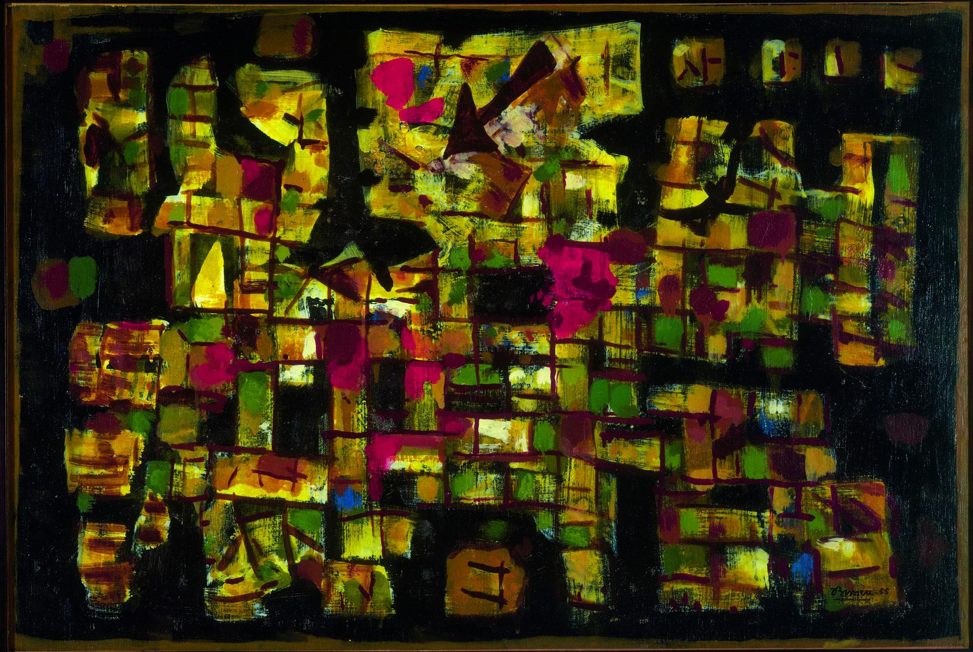 Voyage au bout de la nuit, 1955 – Huile sur toile, 77 x 114 cm - Coll. Part. – Bissière cat. raisonné n° 2233 © Steven Morlier
