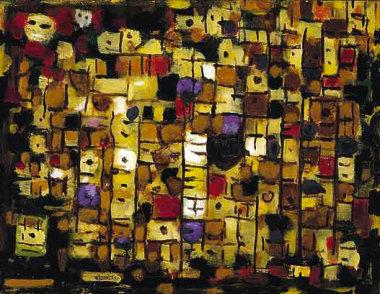 Composition 330, 1957 - Huile sur toile, 50 x 65 cm - Coll. Part. - Bissière cat. raisonné n° 2346