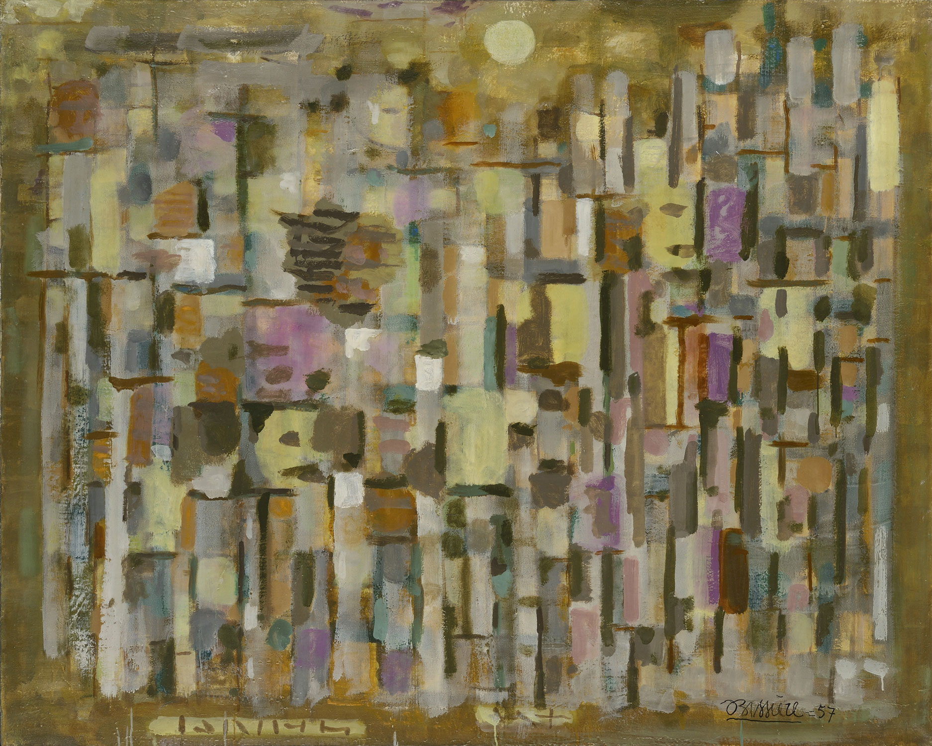 Équinoxe d'hiver, 1957 - Huile sur toile, 130 x 162 cm  - Coll. Part. - Bissière cat. raisonné n° 2354