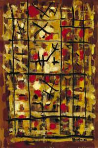 Composition 329, 1957 - Huile sur toile, 80 x 54 cm - Kunsthaus, Zurich - Bissière cat. raisonné n° 2358