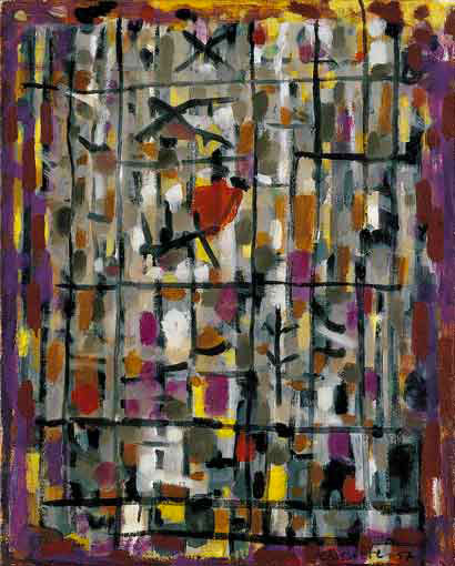 Gris et violet, 1957 - Huile sur toile, 92 x 73 cm - Musée national d'art et d'histoire, Luxembourg - Bissière cat. raisonné n° 2370