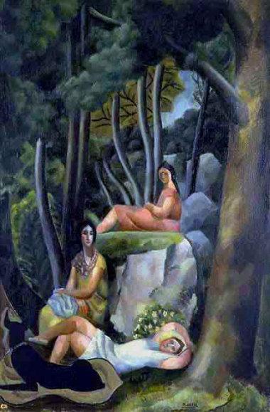 Trois filles à marier, 1923 – Huile sur toile, 115 x 77 cm - Coll. Part. – Bissière cat. raisonné n° 251