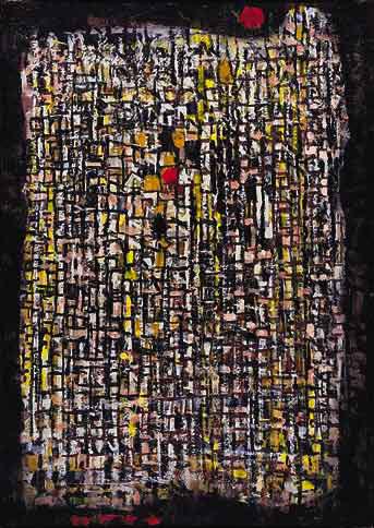 Cantilène de la nuit, 1961 - Huile sur toile, 92 x 65 cm - Kunstmuseum Berne - Bissière cat. raisonné n° 2556