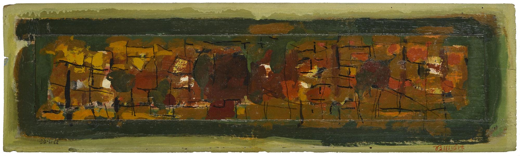 Journal, 23 novembre 1962 - Huile et rehauts de crayon feutre sur panneau, 18,7 x 63,5 cm - Coll. part. – Bissière cat. raisonné n° 2617