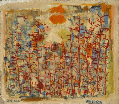 Journal, 20 août 1963 - Huile et crayon feutre sur aggloméré, 20 x 22,8 cm - Coll. Part. - Bissière cat. raisonné n° 2809