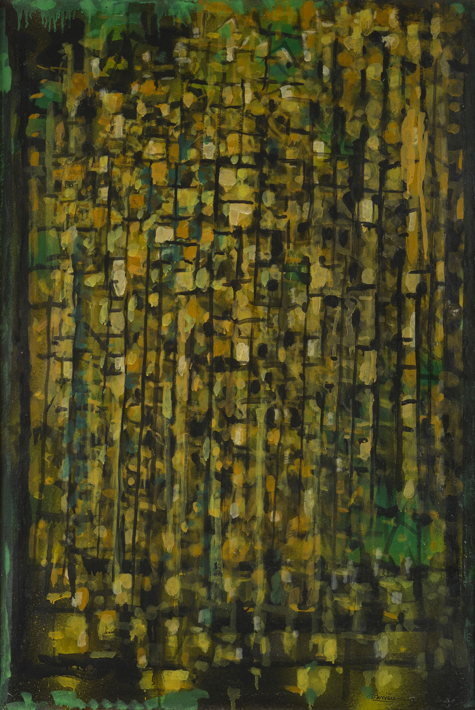 Agonie des feuilles, 1962 - Huile sur toile marouflée sur panneau, 114 x 76 cm - Coll. part. - Bissière cat. Raisonné n° 2610