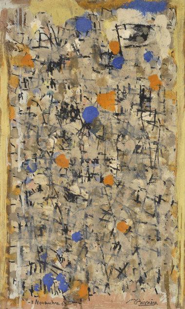 Journal, 8 novembre 1963 - Huile sur panneau, 37 x 22 cm - Coll. Part. – Bissière cat. raisonné n° 2826