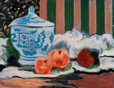 Soupière et pommes, 1925 - Huile sur toile, 33 x 46 cm - Musée des beaux-arts, Agen - Bissière cat. raisonné n° 424