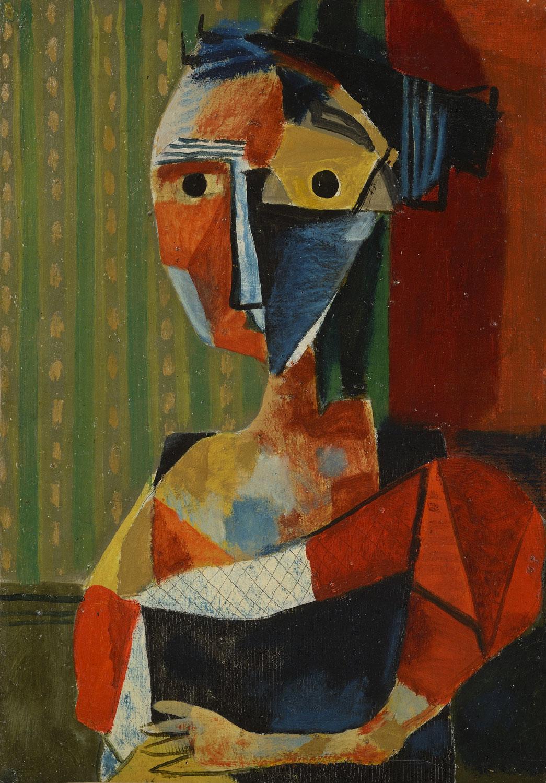Figure, 1936 - Huile sur papier toilé, 62,5 x 44,5 cm - Coll. part. - Bissière cat. raisonné n° 803