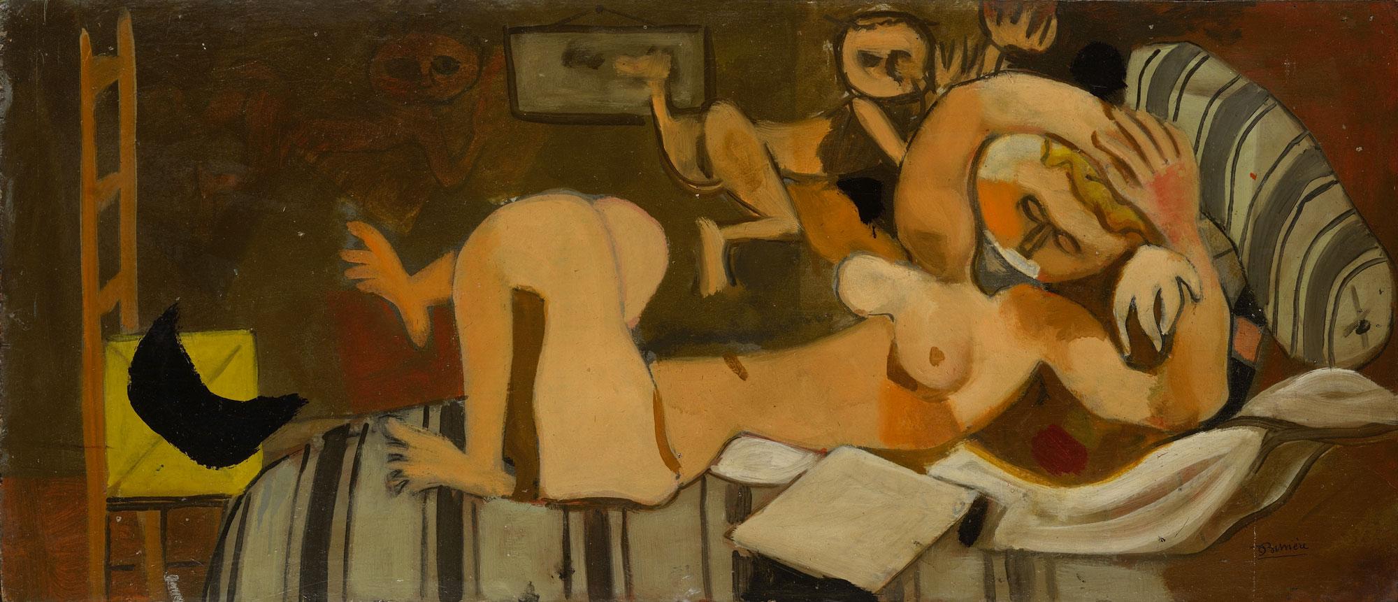 Nu couché, 1936 - Huile sur contreplaqué, 46 x 107 cm - Coll. Part. - Bissière cat. raisonné n° 895