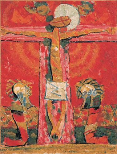 Crucifixion V, 1937 - Huile sur panneau, 65,2 x 44,5 cm - Coll. part. - Bissière cat. raisonné n° 954