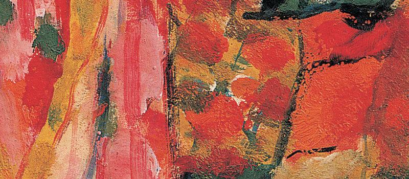 Crucifixion V, 1937 (détail) - Huile sur panneau, 65,2 x 44,5 cm - Bissière cat. raisonné n° 954