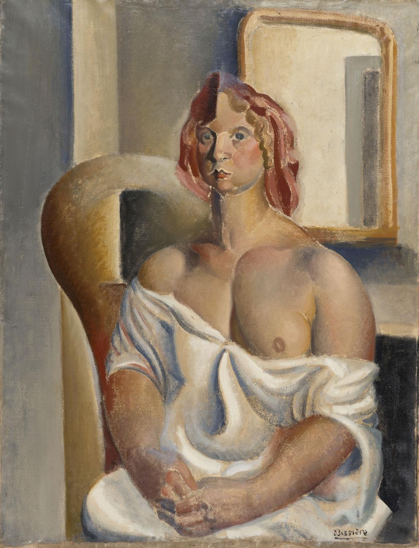 Femme assise en chemise, 1920 – Huile sur toile, 108 x 82 cm - Musée des beaux-arts, Agen – Bissière cat. raisonné n° 97